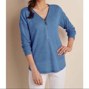 Soft Surroundings Front Zip Navy Blue Tunic Top